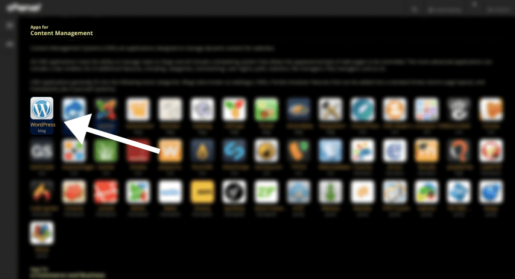 click on the wordpress icon in application installer