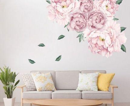売れてます◎ピンク 牡丹 花 ウォールステッカー リビングルーム ベッドルーム 壁 装飾 ホームアクセサリー インテリア DIY