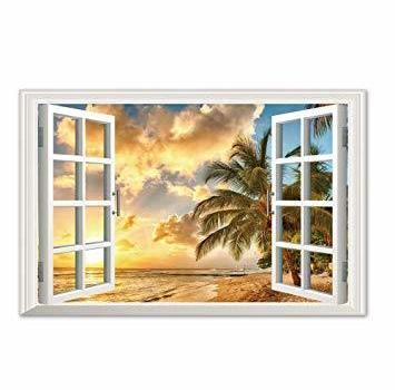 Takarafune 偽窓ステッカー ウォールステッカー 壁紙シール 夕陽 風景画 アートポスタ 窓ポスター 60*90cm
