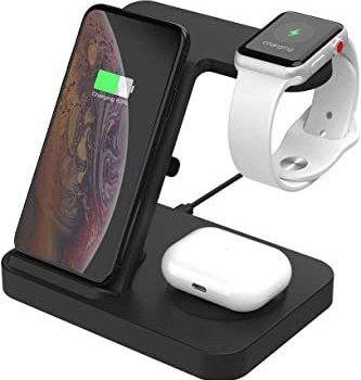 ブラック SIKAI ワイヤレス充電器 For iphone / apple watch 5 (OS6) / airpods p