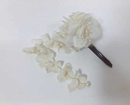 和装ホワイト花フラワーヘアクセサリー和風古風着物浴衣髪飾りヘアクリップヘアピン