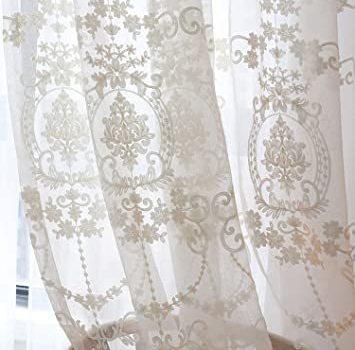 新品 ホワイト 幅100cm×丈200cm 2枚組 姫系レースカーテン ホワイト 刺繍カーテン レース かわいい レSMV7