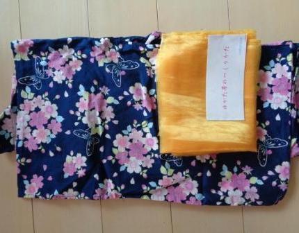 マザウェイズ フラワー 浴衣 紺 帯 150