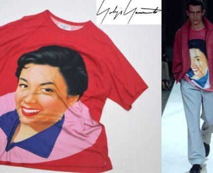 ①正規品 名作 YOHJI YAMAMOTO HOMME 02SS 女優コレクション 杖村さえこ フェイスプリントTシャツ ヨウジヤマモトプールオム レッド 2 KH