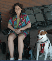 I had to use a wheelchair, and this is our service dog, Moose.