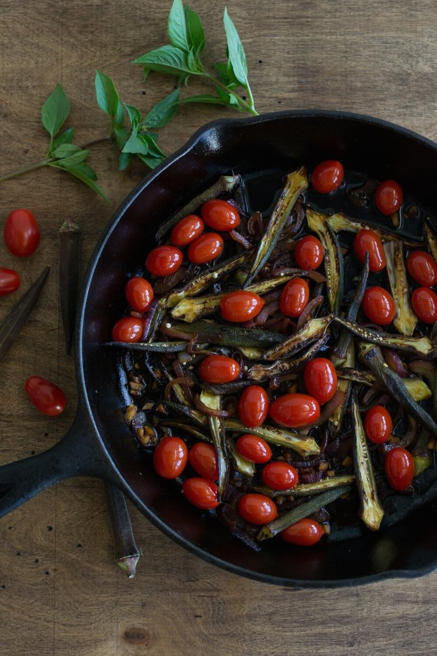 Vegan Okra and Cherry Tomato Stir-fry by An Unrefined Vegan