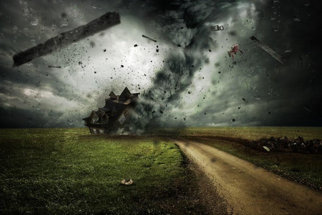 cyclone razing house