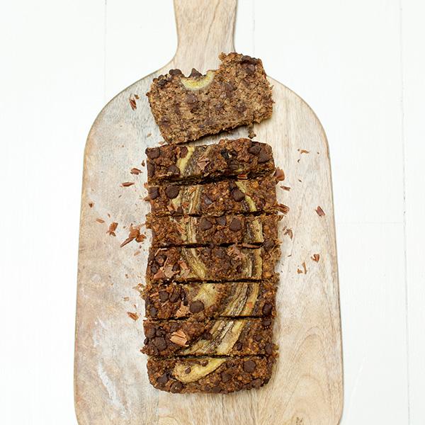 chocolate topped banana loaf sliced