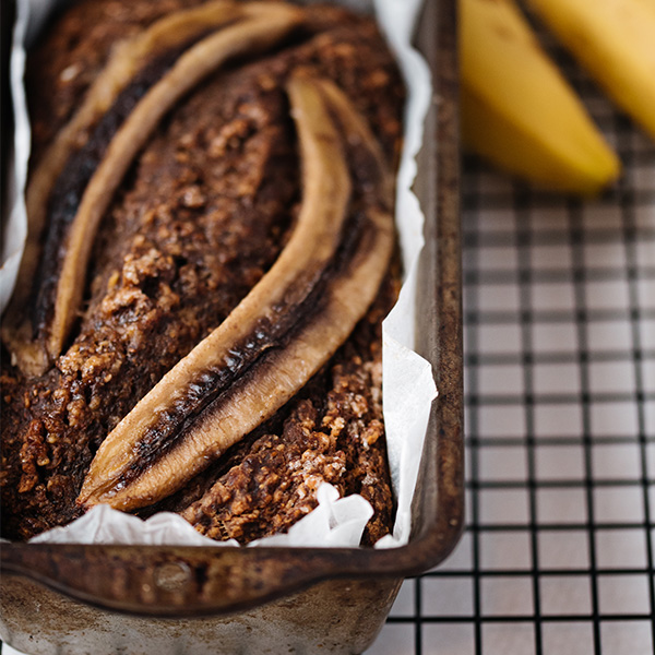 banana loaf out of the oven