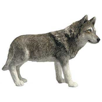 Wolf Figurine Statue Standing Midsize By Sandicast At