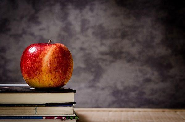 本の上に置かれたリンゴ