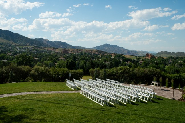 A general view of seats during Kevin and Ellery's Manor House wedding on June 26, 2016, in Littleton, Colorado.