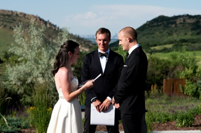 Ellery reads her vows to Kevin during their Manor House Wedding on June 26, 2016, in Littleton, Colorado.