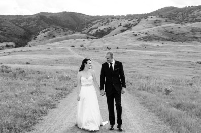 Kevin and Ellery walk during their Manor House Wedding on June 26, 2016, in Littleton, Colorado.