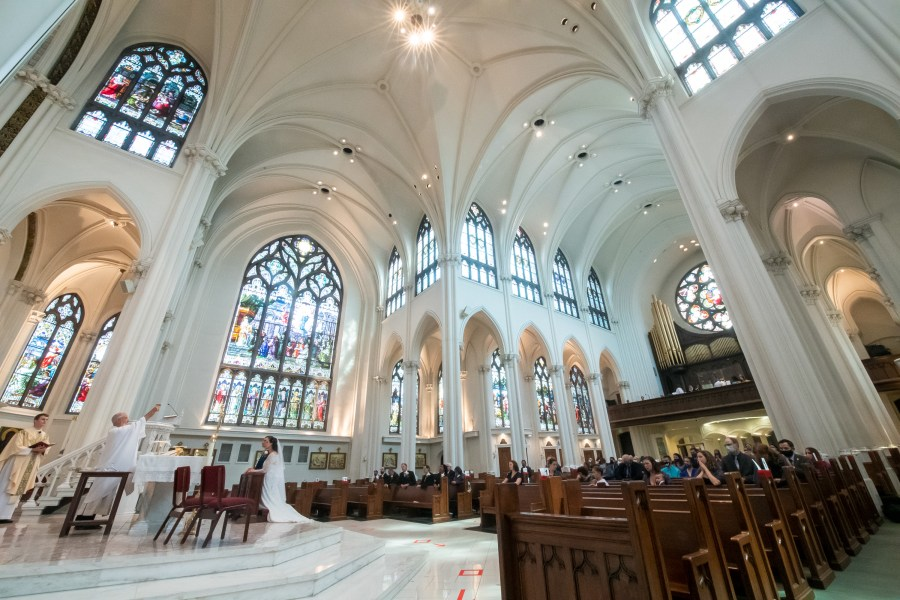 Wedding at the Cathedral Basilica of the Immaculate Conception in Denver, Colorado.
