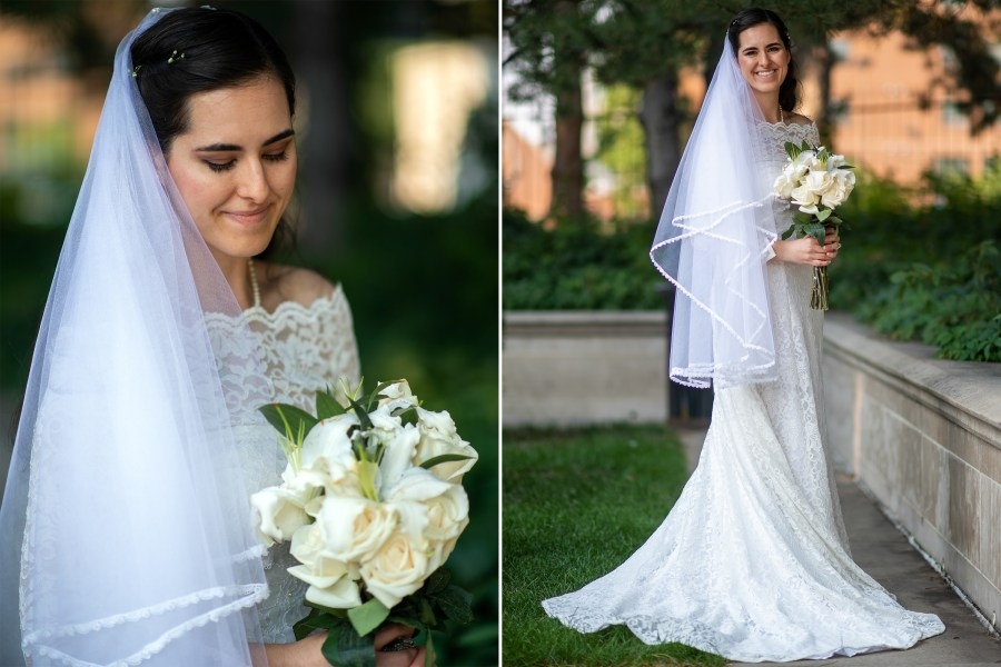 Aurora poses for a portrait after her wedding outside the Cathedral Basilica of the Immaculate Conception.