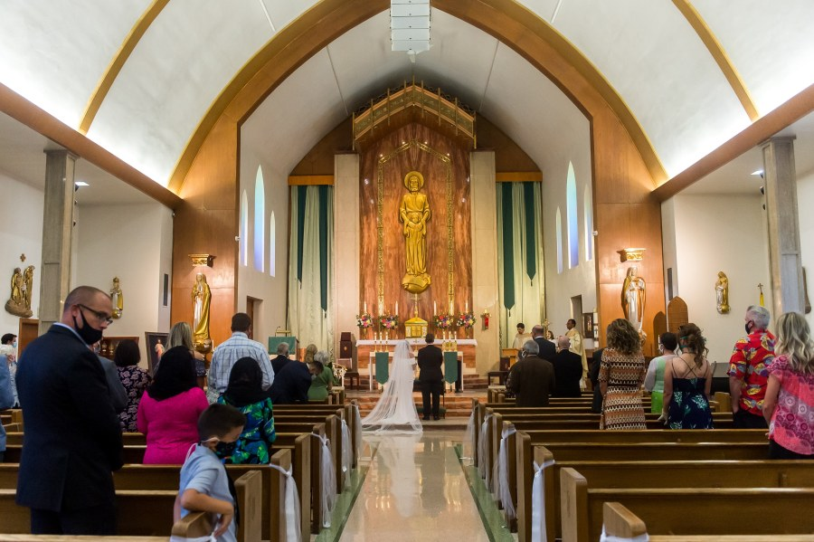 A wedding Mass at St. Joseph Catholic Church in Fort Collins, Colorado, on August 8, 2020.