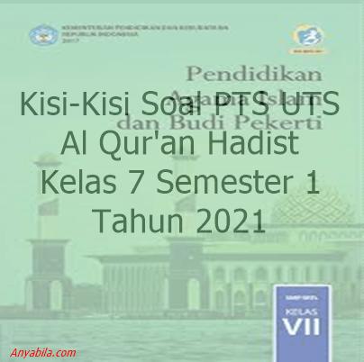 Kisi-Kisi Soal PTS UTS Al-Qur'an Hadist SMP MTs Semester 1 Tahun 2021