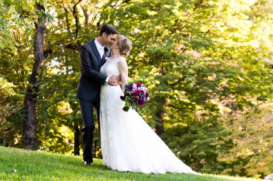 Jordan and John pose during their Grant-Humphreys Mansion wedding.