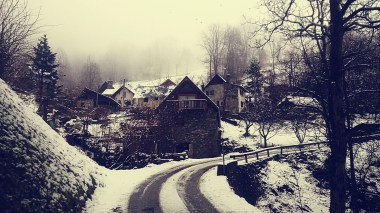 The snow begins, at a village called 'Les Blancs'