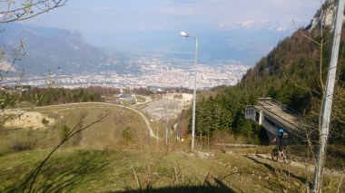 The old ski jump at St. Nizier looking down to Grenoble