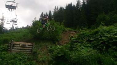 Phil flying over the river gap