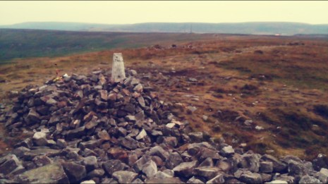 The cairn at the very top, it was a little windy!