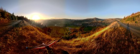 A look back down the valley over the small inconspicuous town of Innerliethen which is just another place to most but to mountain bikers it is all too well known