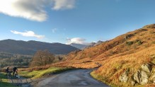 road in little langdale lake district, cumbria, mountain landscape
