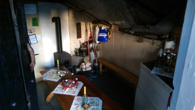 And inside it was pretty cosy, built into the rocks and with a little stove too