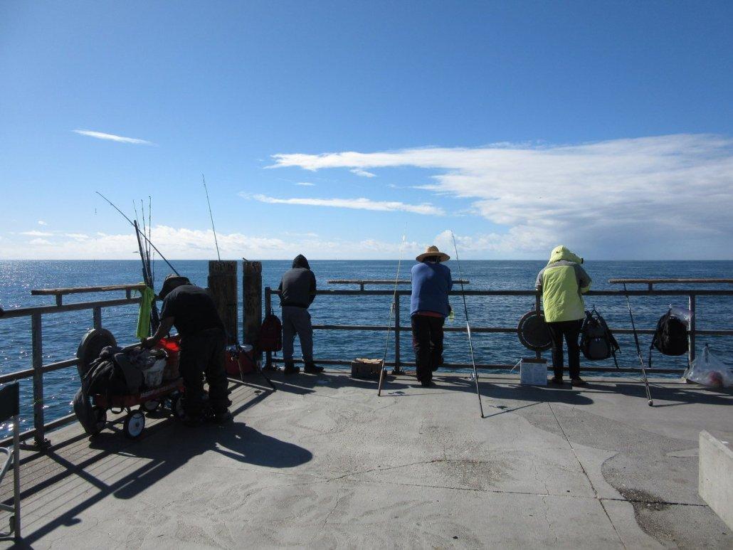 Fishing from Redondo Pier near Torrance CA