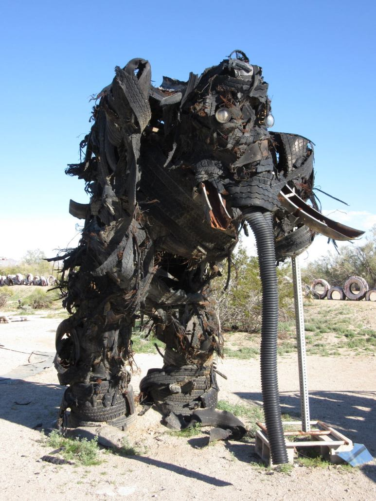 Elephant from tires at East Jesus Sculpture Park Slab City CA