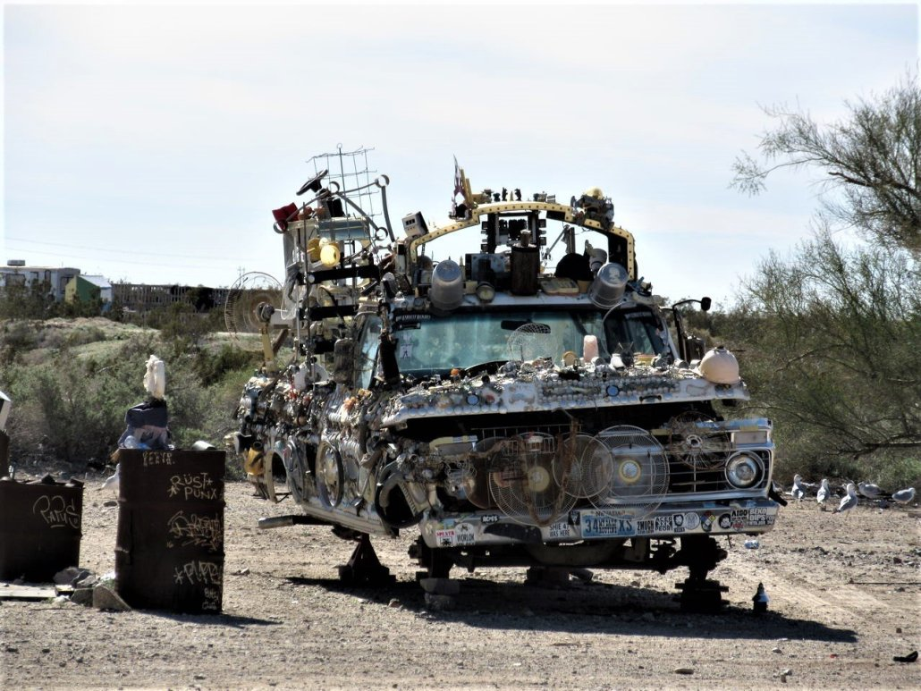 Junk car sculpture Slab City CA