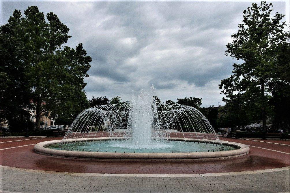 Fountain on Erszébet tér Nagykanizsa Hungary