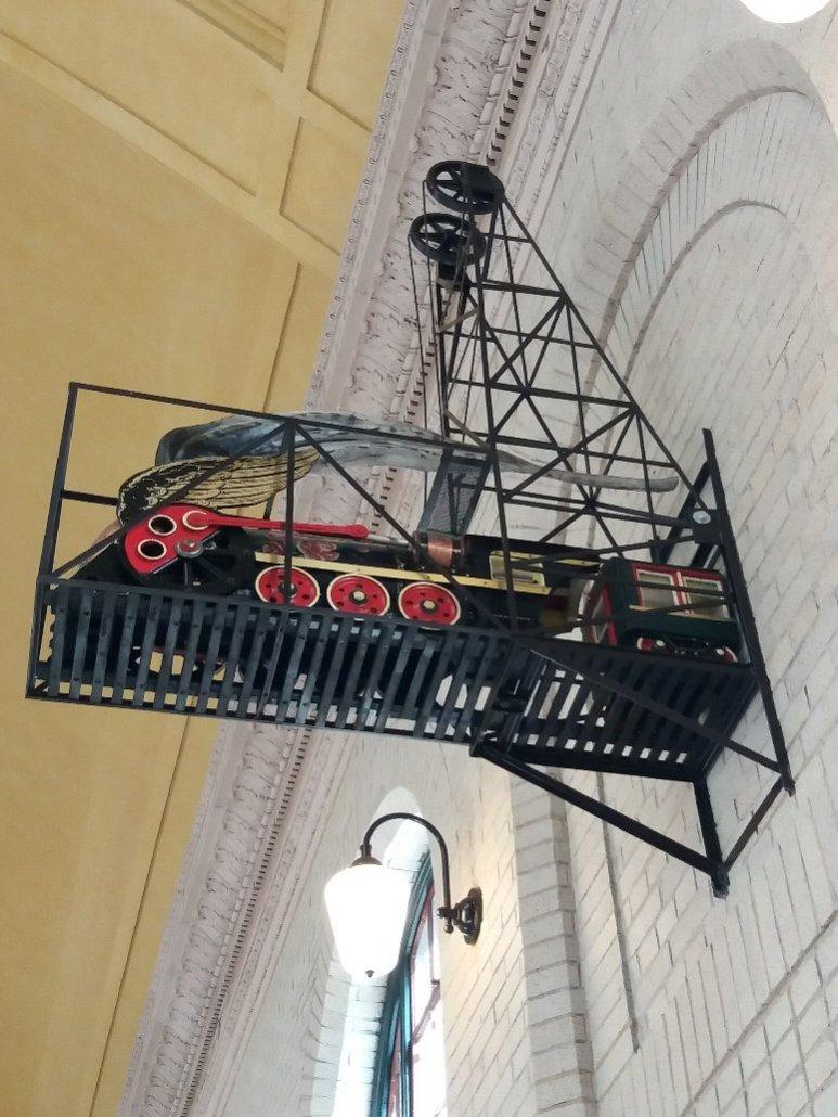 Union Depot St Paul MN wall sculpture of a train