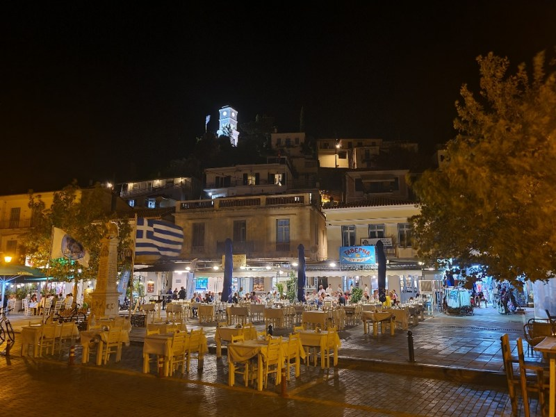 Poros and its clock tower by night