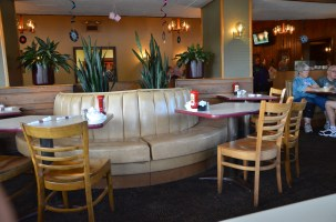 The color's pretty blah, but the banquette seating is inviting. There is also a horseshoe shaped counter.