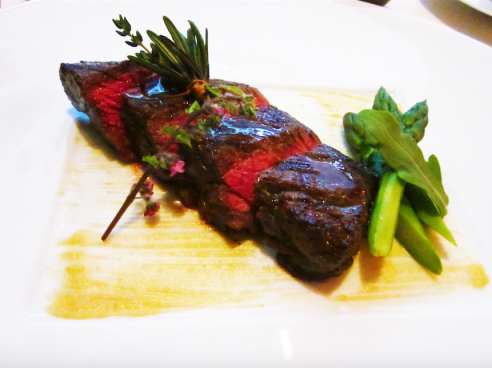 Charcoal-grilled Wagyu Beef Steak with green asparagus and a light touch of Kyoto White Miso