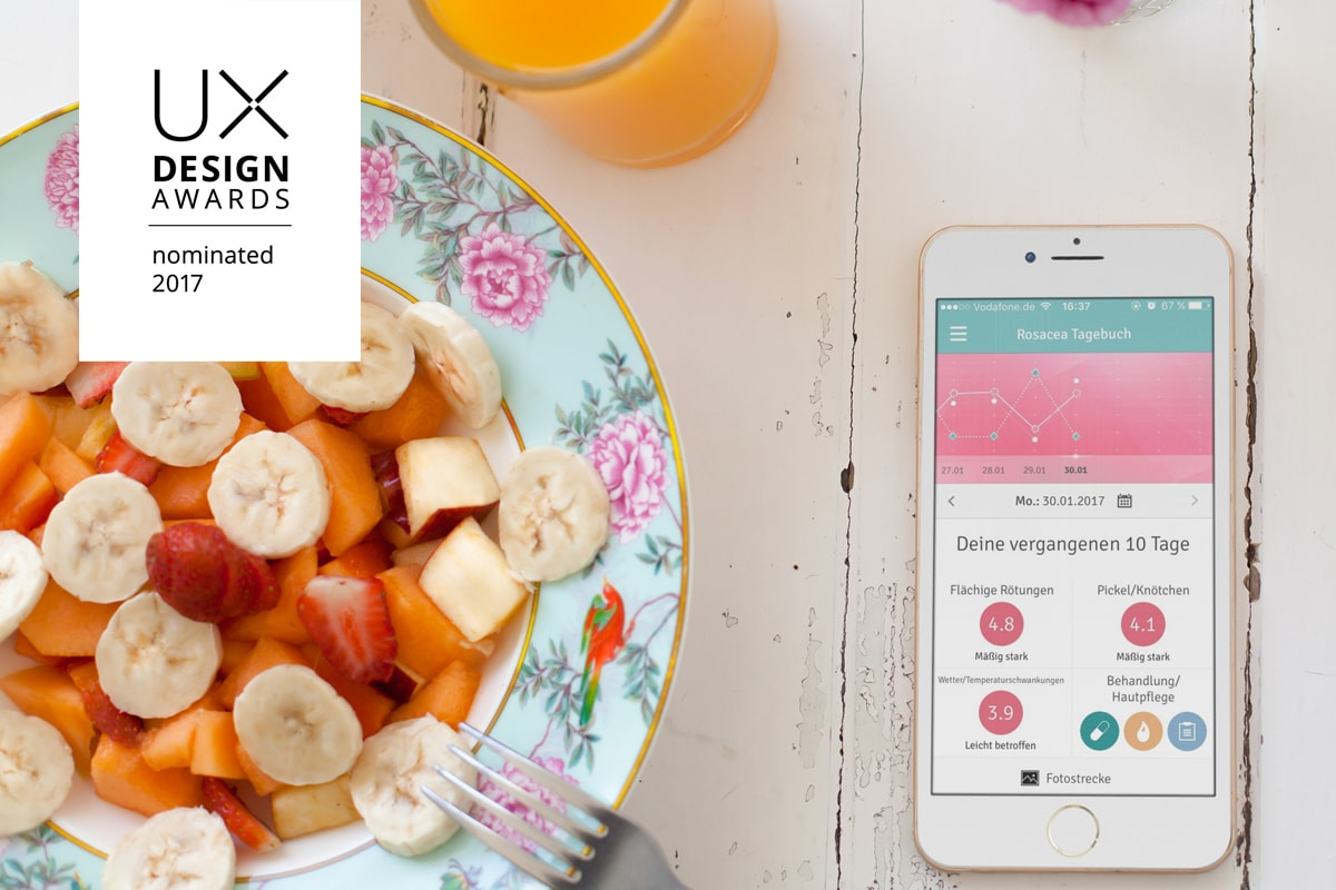 UX-Design-Awards 2017 Nominiert Rosacea-Tagebuch App anyMOTION Internetagentur Digitalagentur Galderma Titel
