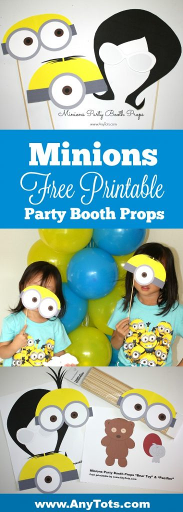 Minions Party Booth Props Free Printables Balloon Tower Any Tots