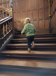 Stomping up the stairs