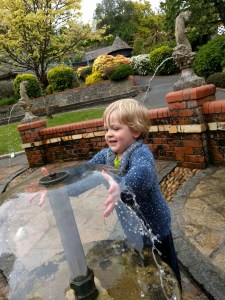 Playing with the fountains at Watermouth Castle
