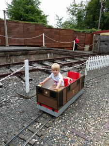 Driving his own train at Devon Railway Centre