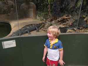 Surprised looking boy in front of Caiman