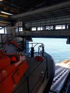 Cromer Lifeboat inside the boathouse on Cromer pier