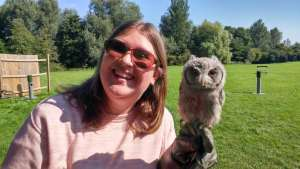 Girl and baby owl