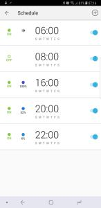 TP-Link LB130 Smart Bulb Schedule page in kasa app