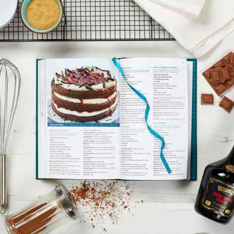 open pages from cookbooks showing a cake