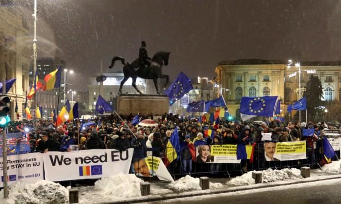 Az EU soros elnöksége - Tüntetés Bukarestben