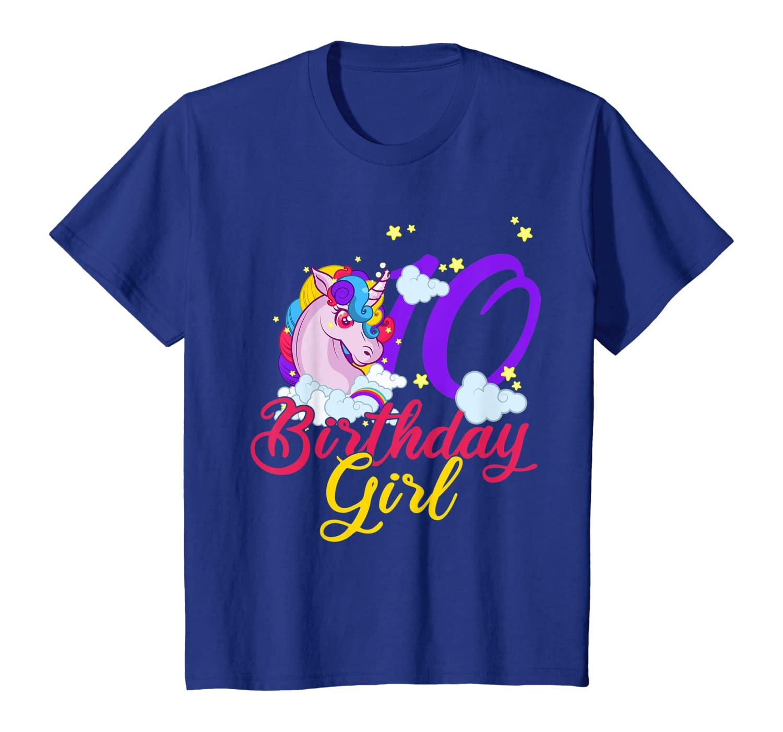 10 Years Old Birthday Girl Ts Unicorn 10th Birthday T Shirt